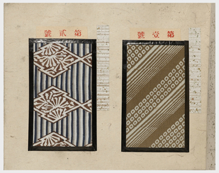 Book of bound pages in which 57 samples of printed silk have been pasted, intended as a sample book from which customers could order the fabric for kimono.