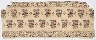 Wide border, probably from a coverlet, with an offset repeat of bouquets of flowers tied with a bow, and with tiny delicate flower sprays between the larger bouquets. Top and bottom guard borders are set off by fine curving lines, with fanciful symmetrical flower sprays alternating wtih delicate arabesque and floral arrangements with diaper filling. Very fine silk chain stitch in intense shades of black, blue, green, gold, red, pink, and white, on a fine off-white plain twill cotton ground.
