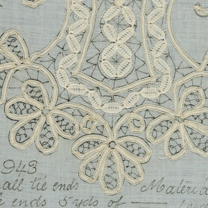 """Blue cotton with lace pattern printed in black. Tape of two kinds basted on. """"943 and small tie ends. Material for both ends of 5 yds of ...""""   (unfinished)"""