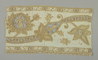 Cut fabric with needlemade fillings, embroidery, withdrawn element work. Motif is a curving vine with leaves; one palmette contains a standing figure while another has a lion.
