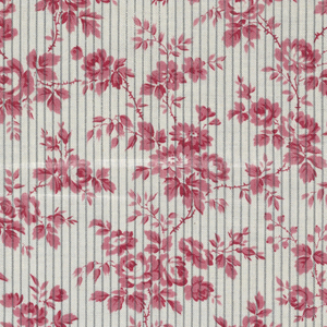 White ground with narrow grey vertical stripes. Serpentine roses and foliage printed in rose.