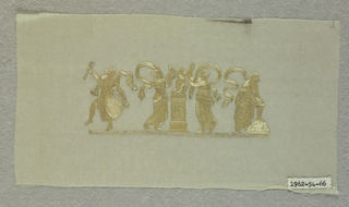White gauze embroidered in lustrious off-white silk. Design shows nymphs tormeting Cupid. One holds arrows and quiver, one ties his wings while a third restrains his hands. The fourth wraps something around her knee.
