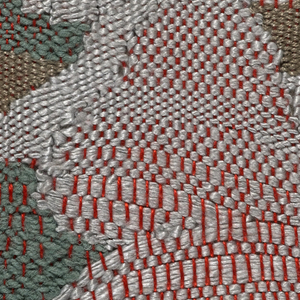 Pale gray and jade green silk wefts interwoven with an orange-red cotton warp.