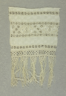 Border fragment with deep knotted fringe.