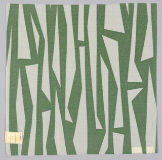 Abstract linear design in green printed on white.