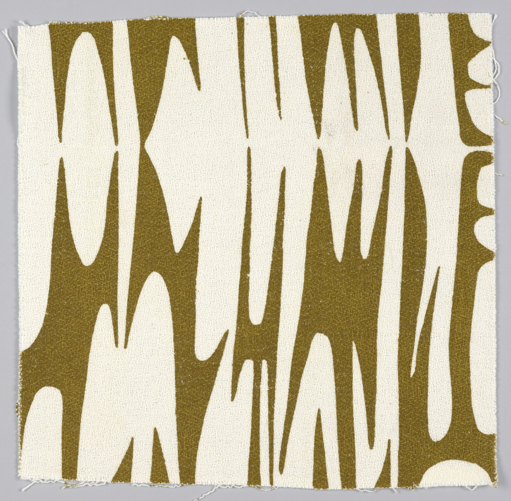 Sample of printed fabric with white abstract curvilinear shapes on a brown ground.