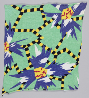 Abstract Memphis Milano print in yellow, black, green, blue, white and red.