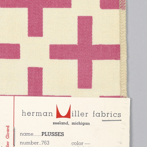 Pink plus signs printed on off-white ground in off set rows. Serged on two sides and cut on two sides.