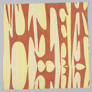 Sample of printed fabric. Yellow and white striped ground fabric overprinted with orange to create abstract curvilinear shapes.