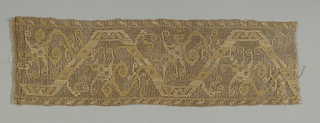 Fragment of a border with a geometric vine pattern in yellow and ivory on brown gauze weave.