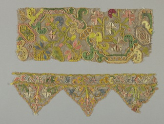 Border of embroidered net in linen and multi-colored silk. Border edged on one side by three pendants. All areas filled by bold floral forms.