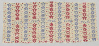 Fragment of a centennial print in a design of red and blue stars in vertical columns, each star holding in its center a letter, reserved in white, of the word: CENTENNIAL. Intersecting the stars are two horizontal rows: one with 1776, the other 1876.