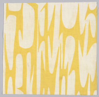 Sample of printed fabric with white abstract curvilinear shapes on a yellow ground.