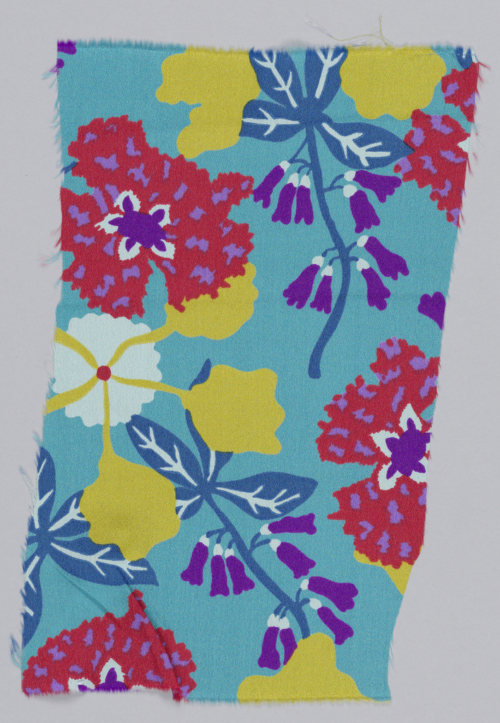 Turquoise with yellow, white, red and purple stylized flowers.
