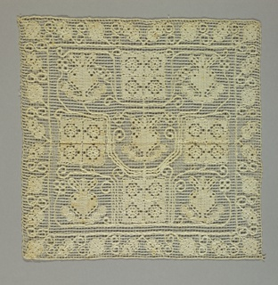 Square of knotted linen embroidered in an allover geometric floral pattern.