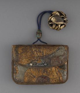 Purse (kin-chaku) With Pendant (netsuke) And Cord Fastener (Netherlands (leather))