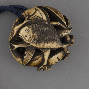 Rectagular leather purse with curved corners; stamped silvered and varnished floral decoration througout; front flap with applied silver decoration at edge, depicting small mouse sitting on two flower stalks. Strap at top, consisting of blue cord with one enameled brass bead and circular carved ivory pendant in form of piled fish.