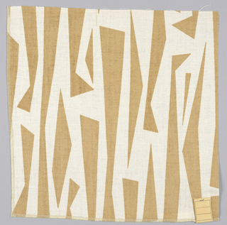 Abstract linear design in tan printed on white.