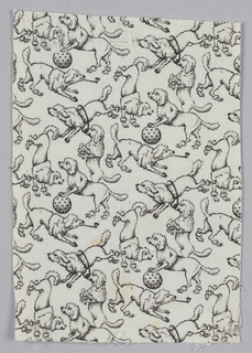 Woven cotton printed in black on white ground showing a pattern of poodles in a variety of playful poses.