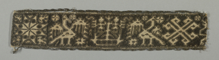 Fragment of a narrow band with birds and geometric motifs. Natural linen is drawn, cut and wrapped with dark brown silk and embroidered with metallic thread accents.