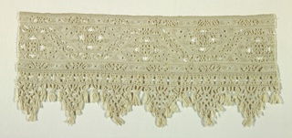Wide border of openwork edged at one side with a macramé border with deep triangular pendants.