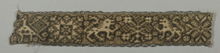 Fragment of a narrow band with lions rampant, birds, geometric motifs, and stylized plant forms. Natural linen is drawn, cut and wrapped with dark brown silk and embroidered with metallic thread accents.