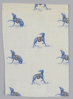 Woven cotton textile printed in blue and brown on white ground showing a pattern of greyhound dogs.