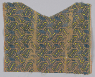 Diagonal shapes in blue and yellow facing alternately in opposite directions on pinkish tan.