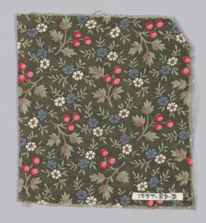 Fragment with a dark greenish-black ground and a design of blue and white daisies and red berries, with grey-green foliage.