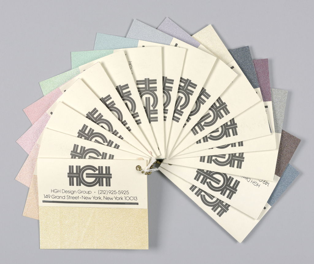 Sixteen samples of metallic coated fabrics mounted on cards.