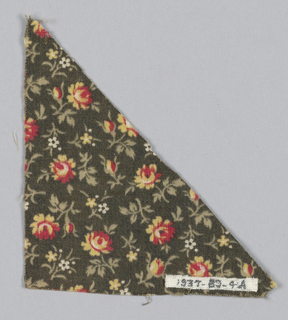 Fragments of the same design printed in different colorways. One has tiny floral sprigs on a black ground with red, yellow, and white flowers with grey foliage; the other, tiny floral sprigs on a black ground with rose and white flowers and gray-green foliage.