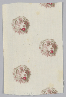 Woven cotton textile printed in brown and red on white ground showing a pattern of dog heads with protruding tongue.