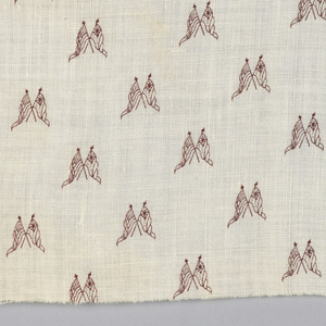 White fabric in a printed design showing crossed American and British flags in dark red.