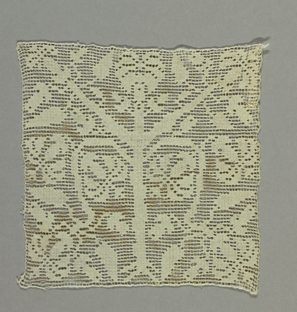 Design with darned symmetrical tree pattern.