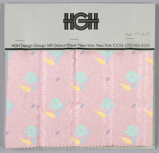 Seven samples of small scale printed patterns on a metallic coated textile mounted on cards. Four are stuffed and quilted.