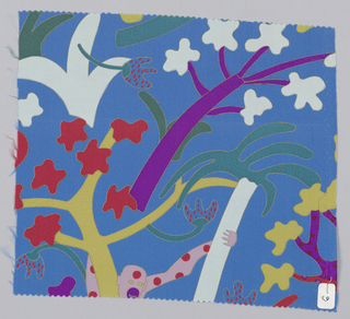 Blue with stylized plants and person in purple, yellow, white green, red and pink.