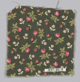 Fragment with a greenish-black ground and a design of tiny allover roses and five-petal flowers in rose, white, yellow and brown.