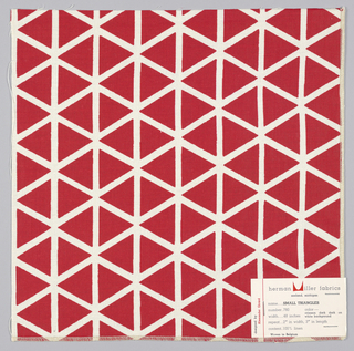 Rows and columns of alternating triangles, printed in red on white.