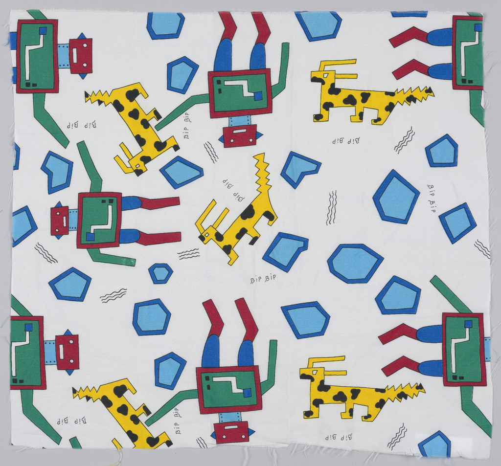 "Robotic men and dogs interspersed with geometric forms, and text  ""bip bip."" White ground printed in black, dark blue, medium blue, yellow and red."