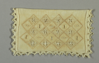 Rectangular case, folded once. Edges hemstitched and finished with narrow bobbin lace. Cover is ornamented with eyelet embroidery and drawnwork.