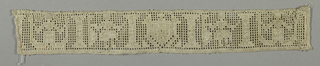 Woven linen band fragment with design showing a heraldic shield at center, crude mermaids, standing figures holding lutes, and columns.
