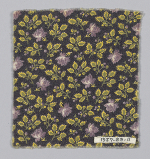 Fragment with a black ground and tiny allover rose sprigs and foliage printed in purple, yellow and green.