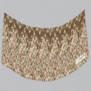 Fragment with a design of pink flowers and brown leaves, scrolls and irregular black forms on a white ground.