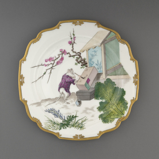 A white plate with a gold lip depicting a mouse painting next to a building in an outdoor scene.