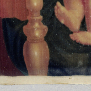 "Picture in velvet of ""The Madonna of the Chair"" after the painting by Raphael."