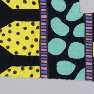 Striped abstract design in black, yellow, turquoise, pink and purple.