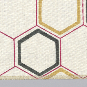 Dark red honeycomb pattern with black and gold color hexagons printed on off-white. Serged on 2 sides, cut on 2 sides.