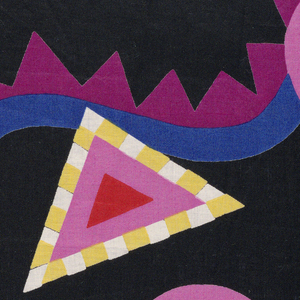 Black with circles in pink, red, and blue and triangles in pink, red, yellow, and white.