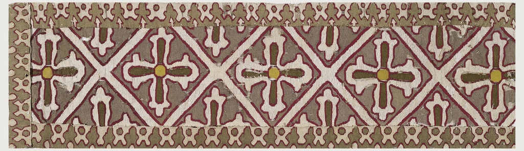 Lattice pattern with a cross in each diamond-shaped field. The lattice and crosses are white outlined with red, on a brown ground.