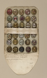 Folding envelope, or book, made of paper; used as a case for thirty circular buttons. Contains 1921-22-72a,b/102